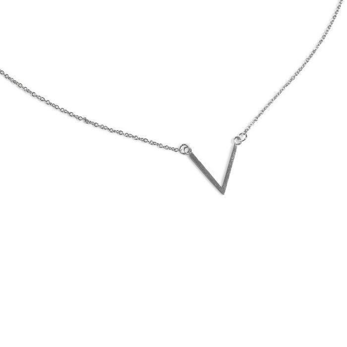 LUZ Collier forme V - argenté