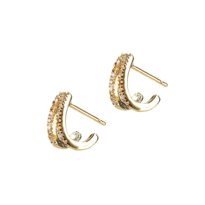 LUZ double rings met steentjes goudkleurig