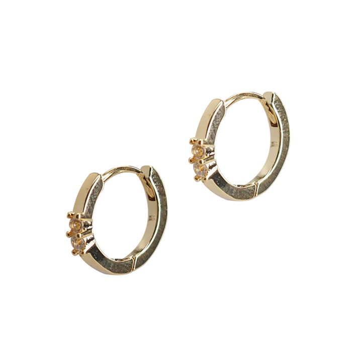 LUZ oorbellen met steentjes goudkleurig