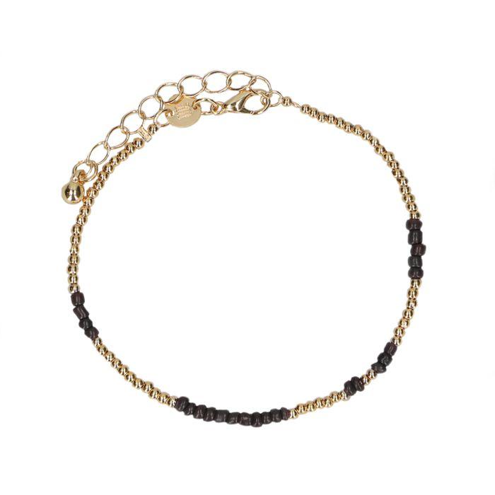 LUZ bead armband zwart/goud
