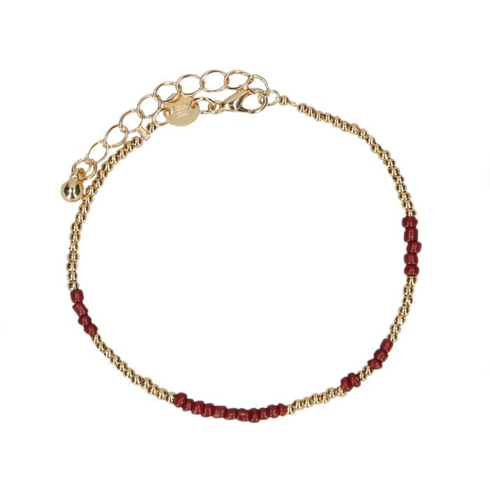 LUZ bead armband goudkleurig/bordeaux
