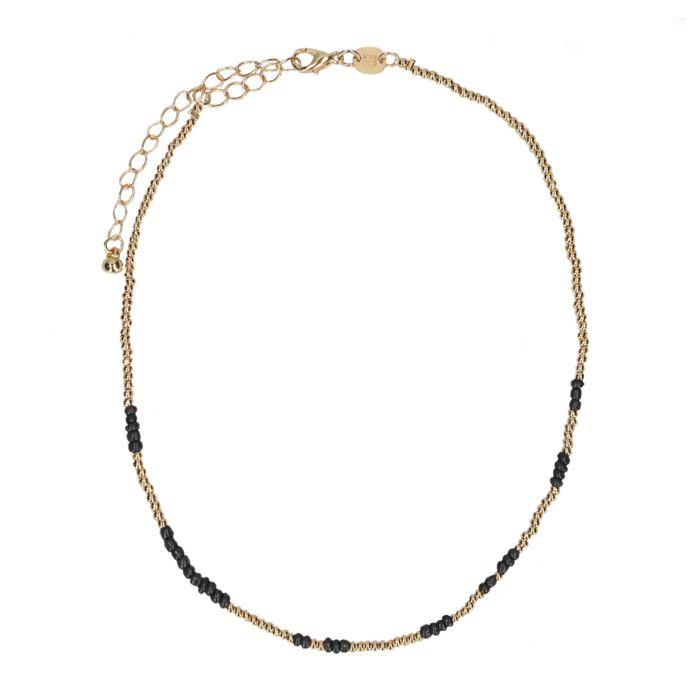 LUZ Collier ras du cou perles - doré/noir
