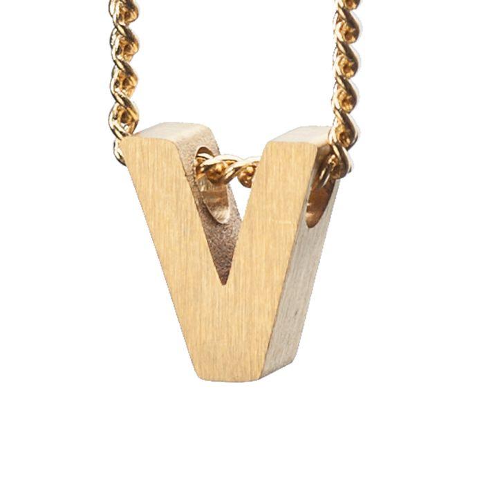 LUZ - breloque dorée lettre V