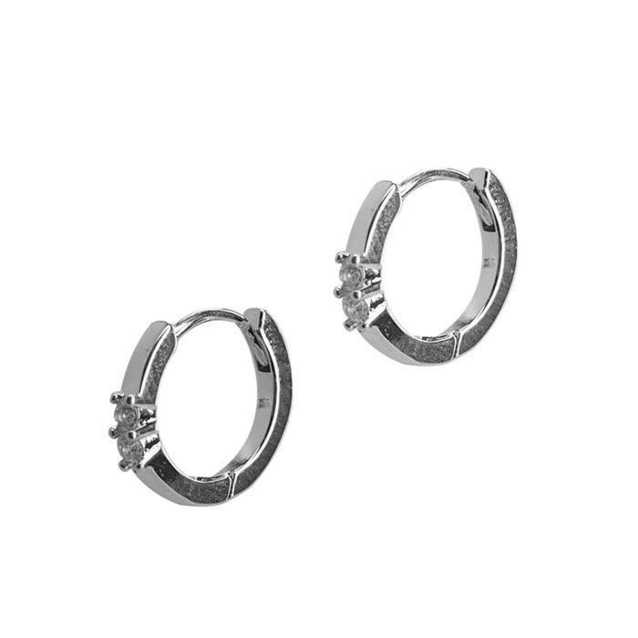 LUZ Ohrringe mit Steinchen silber