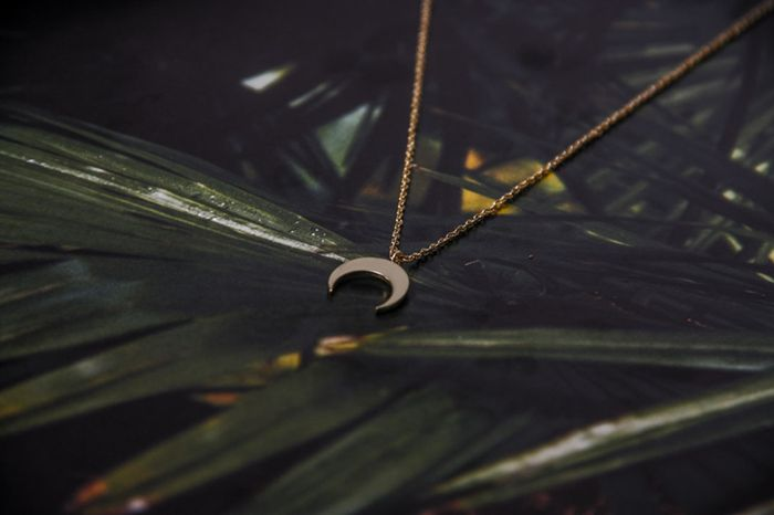 LUZ crescent moon ketting gold