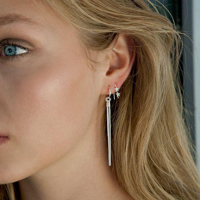 LUZ Ohrringe mit drei Kettchen silber