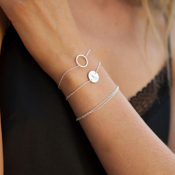 LUZ Armband mit Doppel-Kette silber