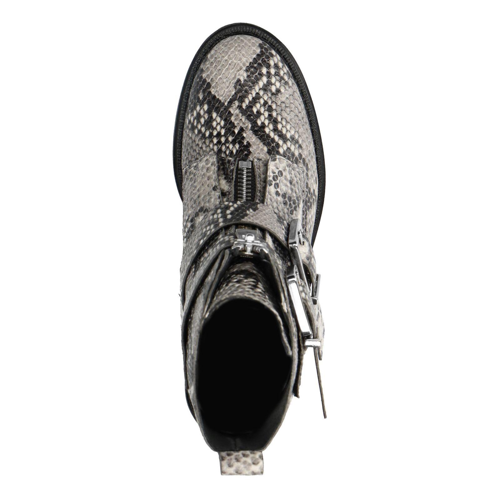 Graue Biker Boots mit Schlangenmuster