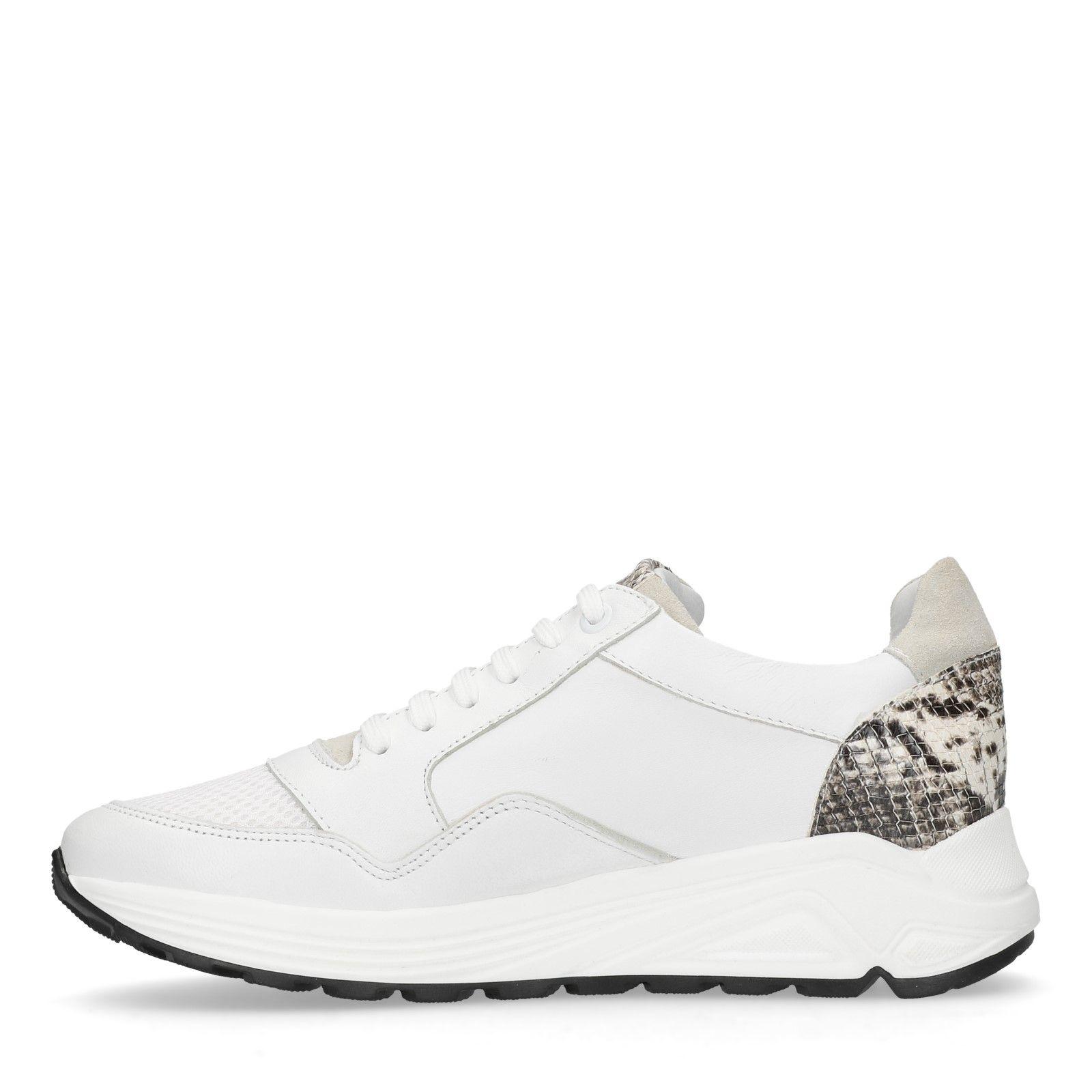 6e4bbd4d0c482d Manfield Weiße Leder-Sneaker