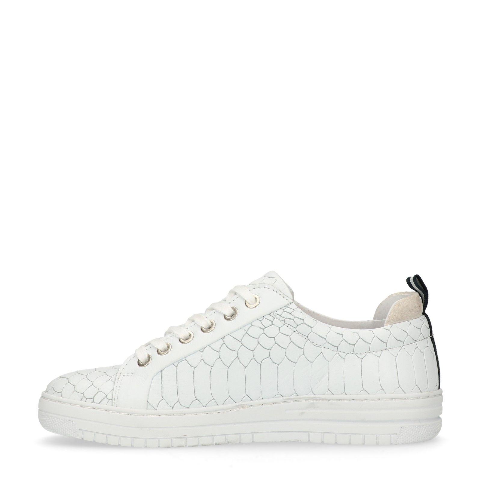 c0473bc096e35e Manfield Weiße Sneaker mit Schlangenmuster