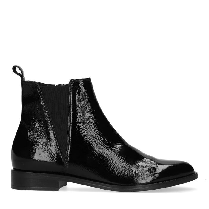 cheap for discount 92a46 790bb Manfield Schwarze Chelsea Boots aus Lack