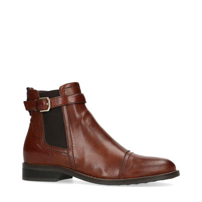 ac23b2470f7850 Cognacfarbene Chelsea Boots mit Schnalle