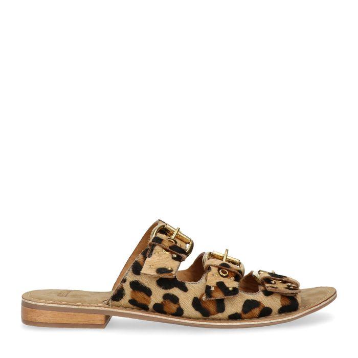 5cb3efe835d Leren panterprint slippers met 3 gespen - Dames | MANFIELD