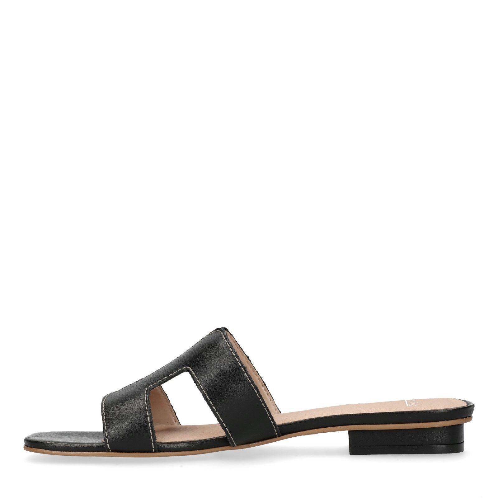 nieuwe stijlen beste prijs beste plaats Zwarte leren slippers - Dames | MANFIELD