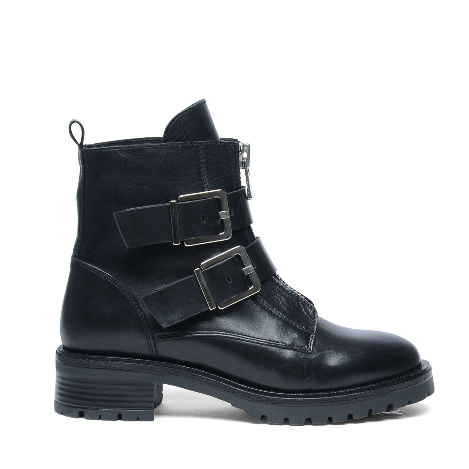 korte zwarte leren laarzen