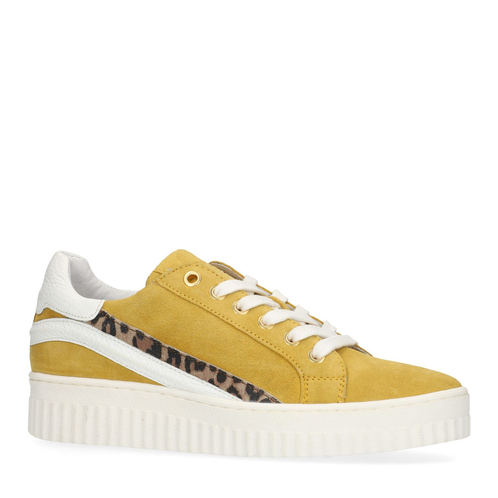 Manfield Gelbe Sneaker mit Leo Details