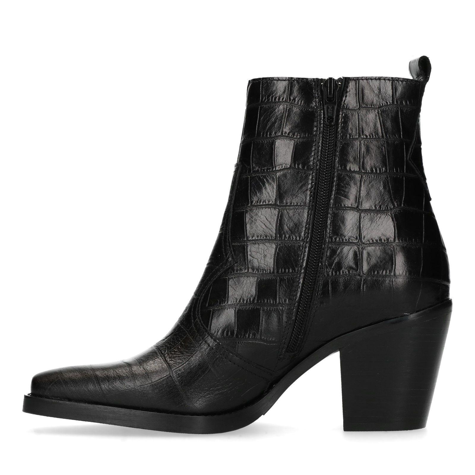 Zwarte enkellaarsjes met croco print Dames | MANFIELD