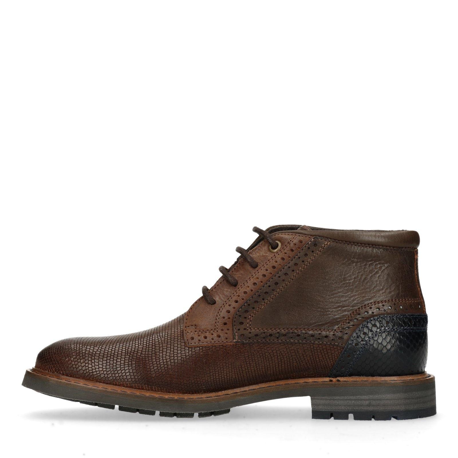 Cognac worker boots met snakeskin Heren | MANFIELD