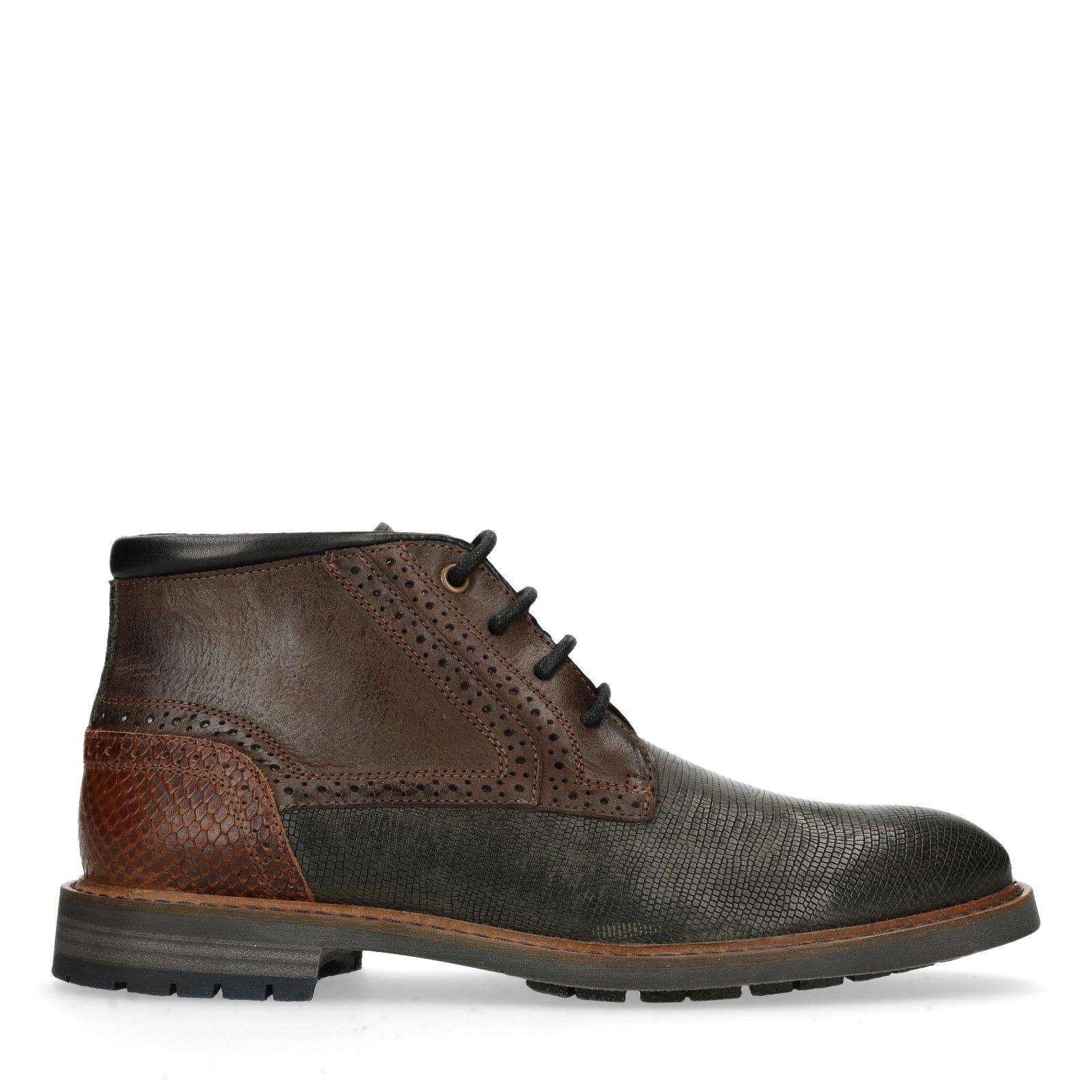 Donkergrijze worker boots met snakeskin Heren | MANFIELD