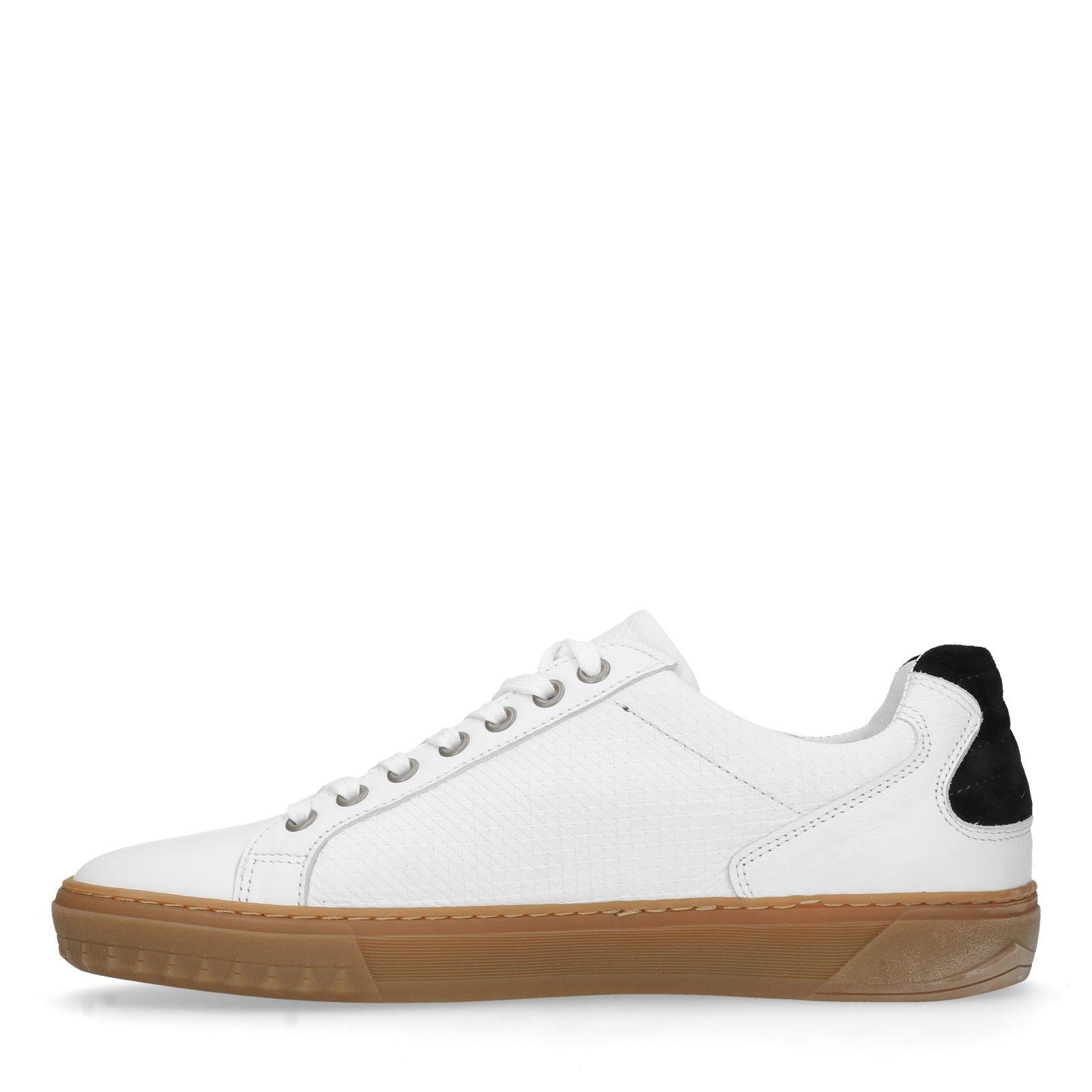 f58d9429ff7dbb Manfield Weiße Leder-Sneaker