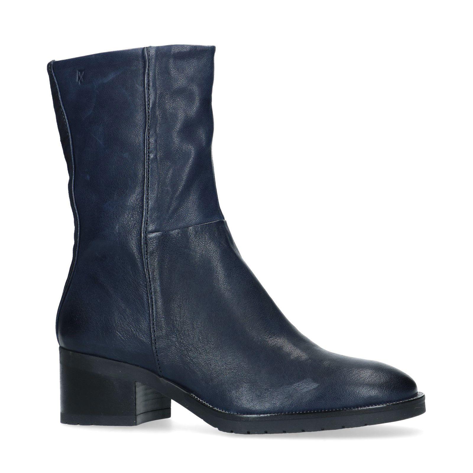 Blauwe korte laarzen met lage hak Dames | MANFIELD