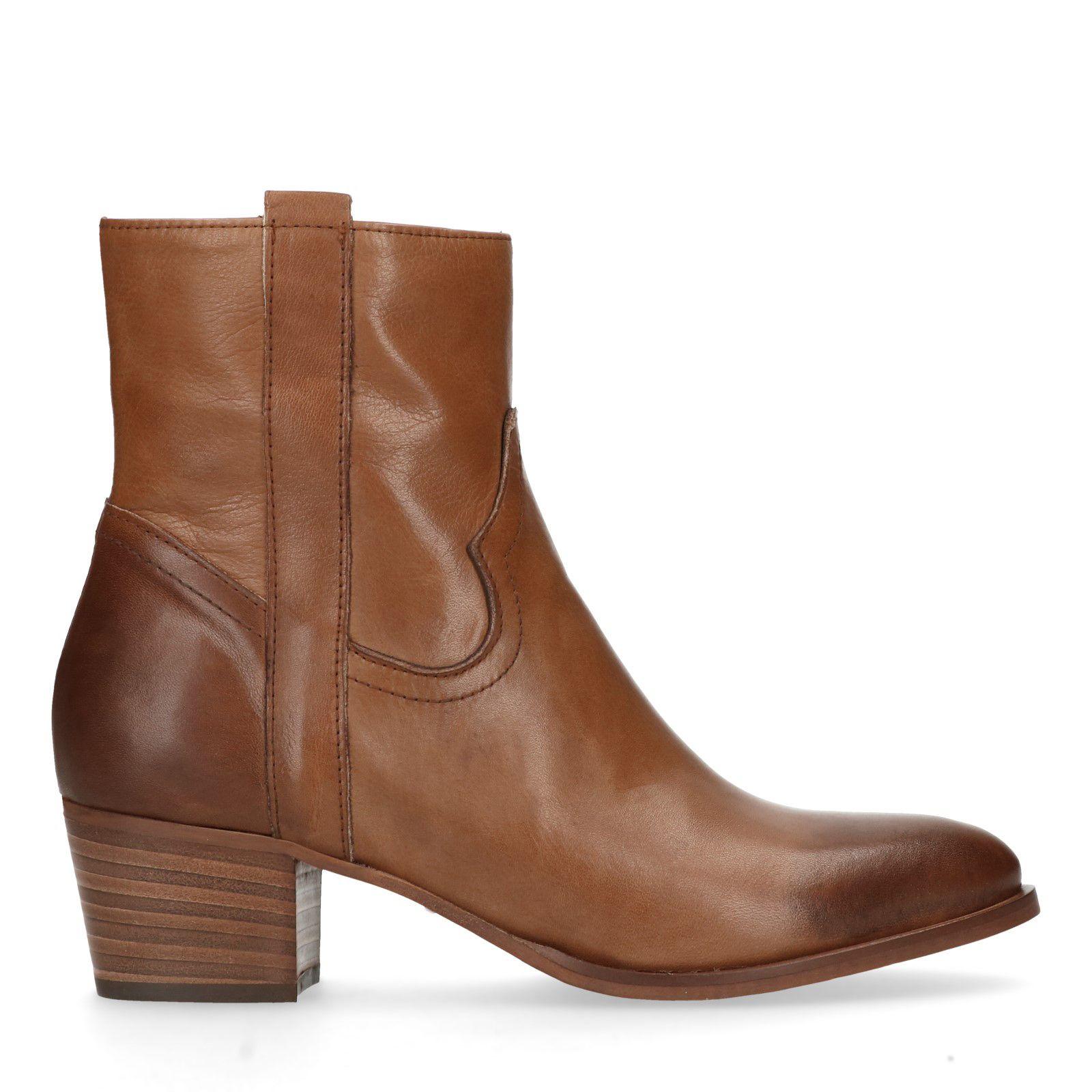 Bekend Bruine korte laarzen van leer - Dames   MANFIELD #LM83
