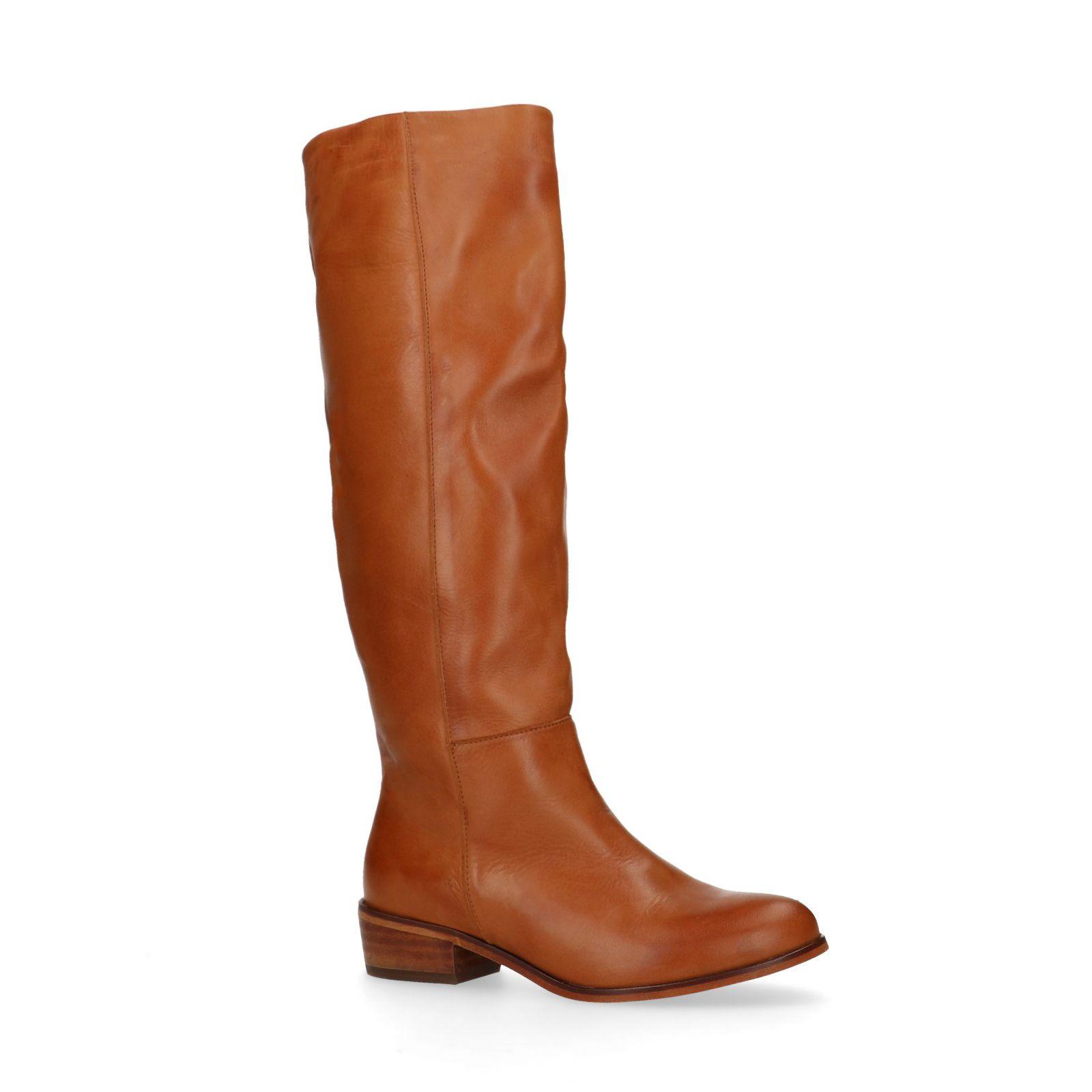 Cognac hoge laarzen met lage hak Dames | MANFIELD
