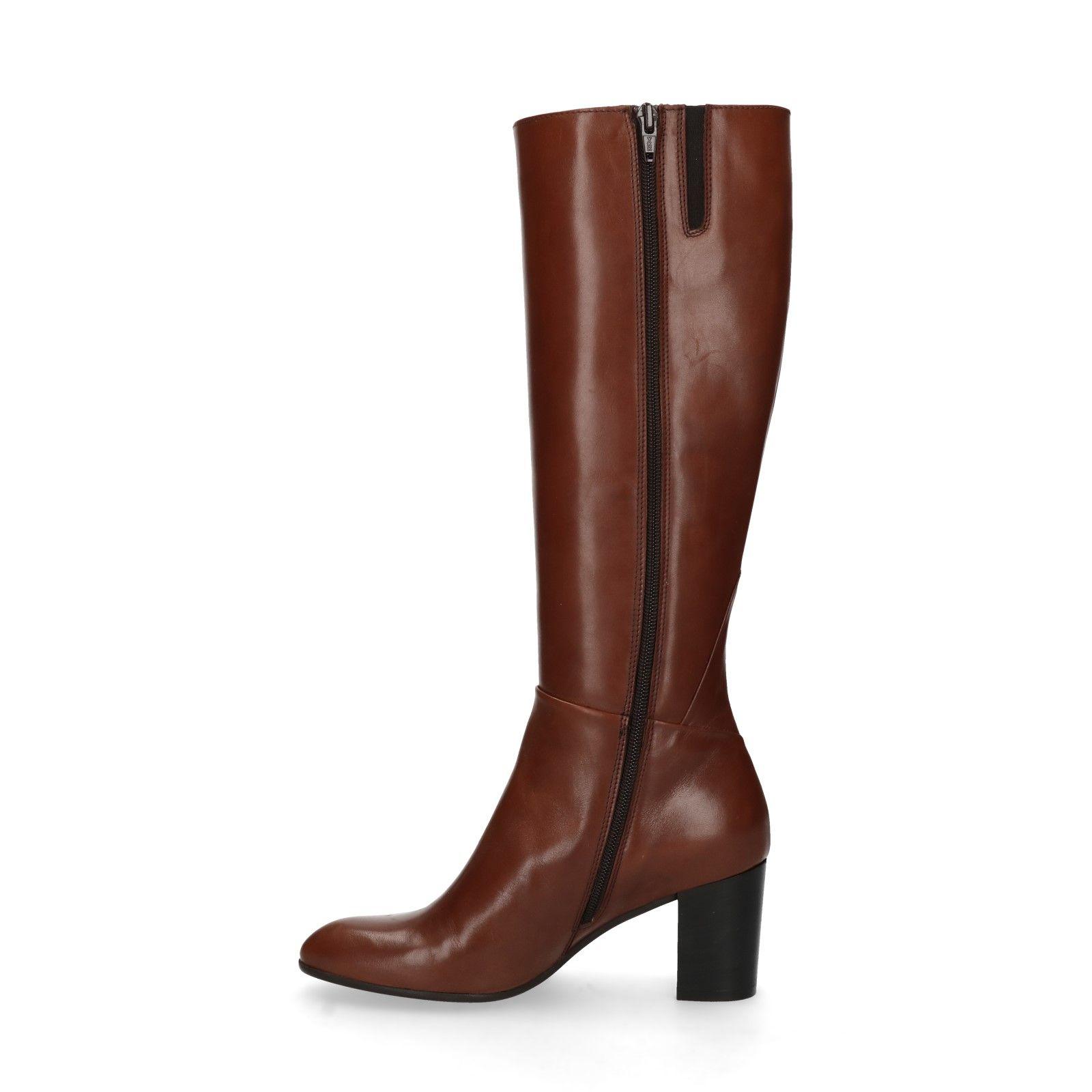 Bruine leren hoge laarzen met hak Dames | MANFIELD
