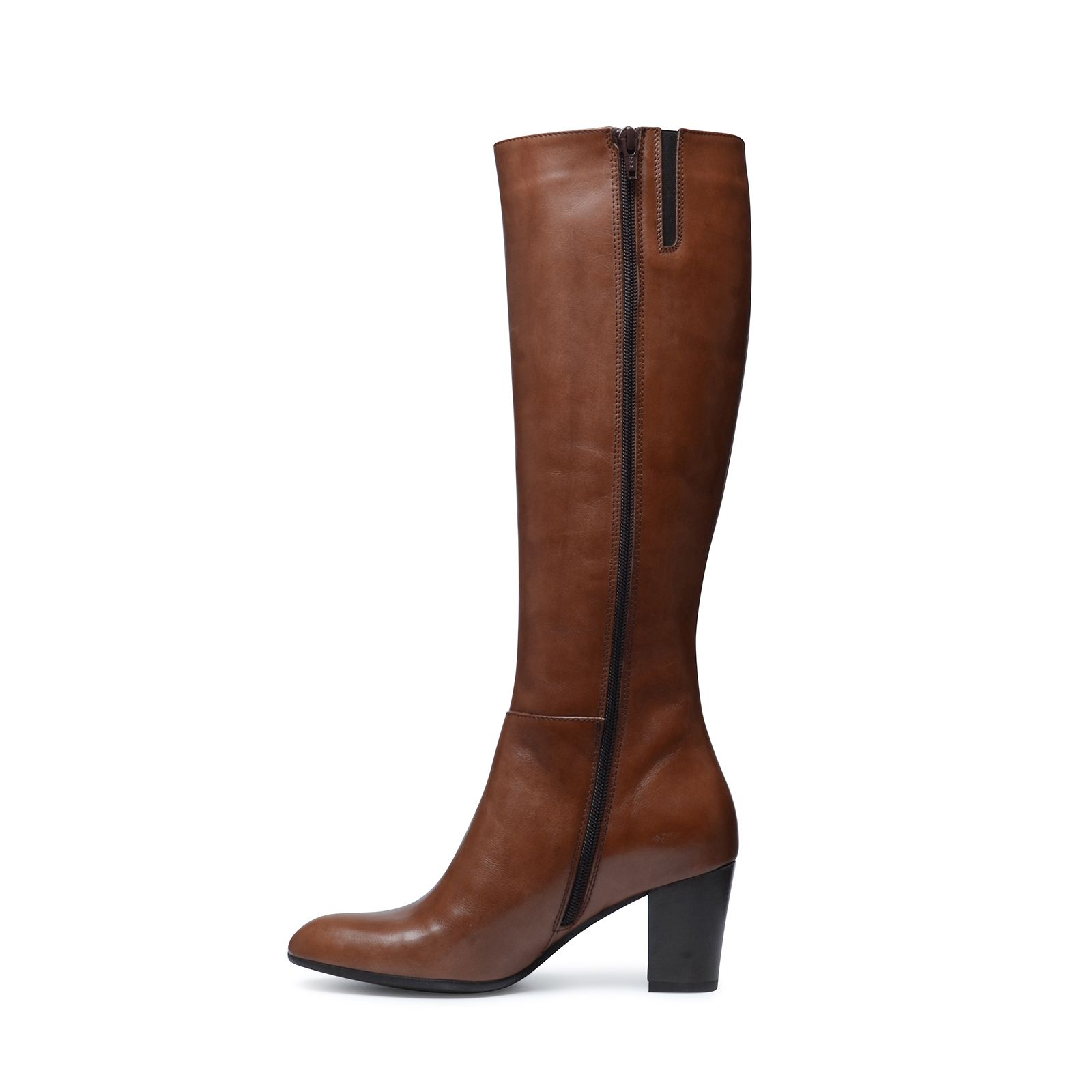 Cognac leren hoge laarzen met hak Dames | MANFIELD