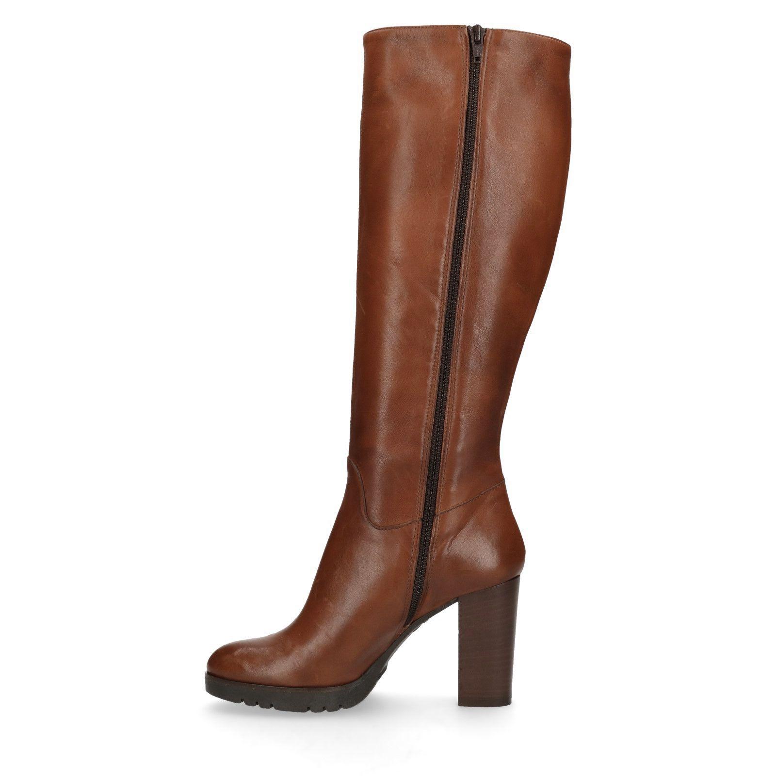 Cognac hoge laarzen met hak Dames | MANFIELD