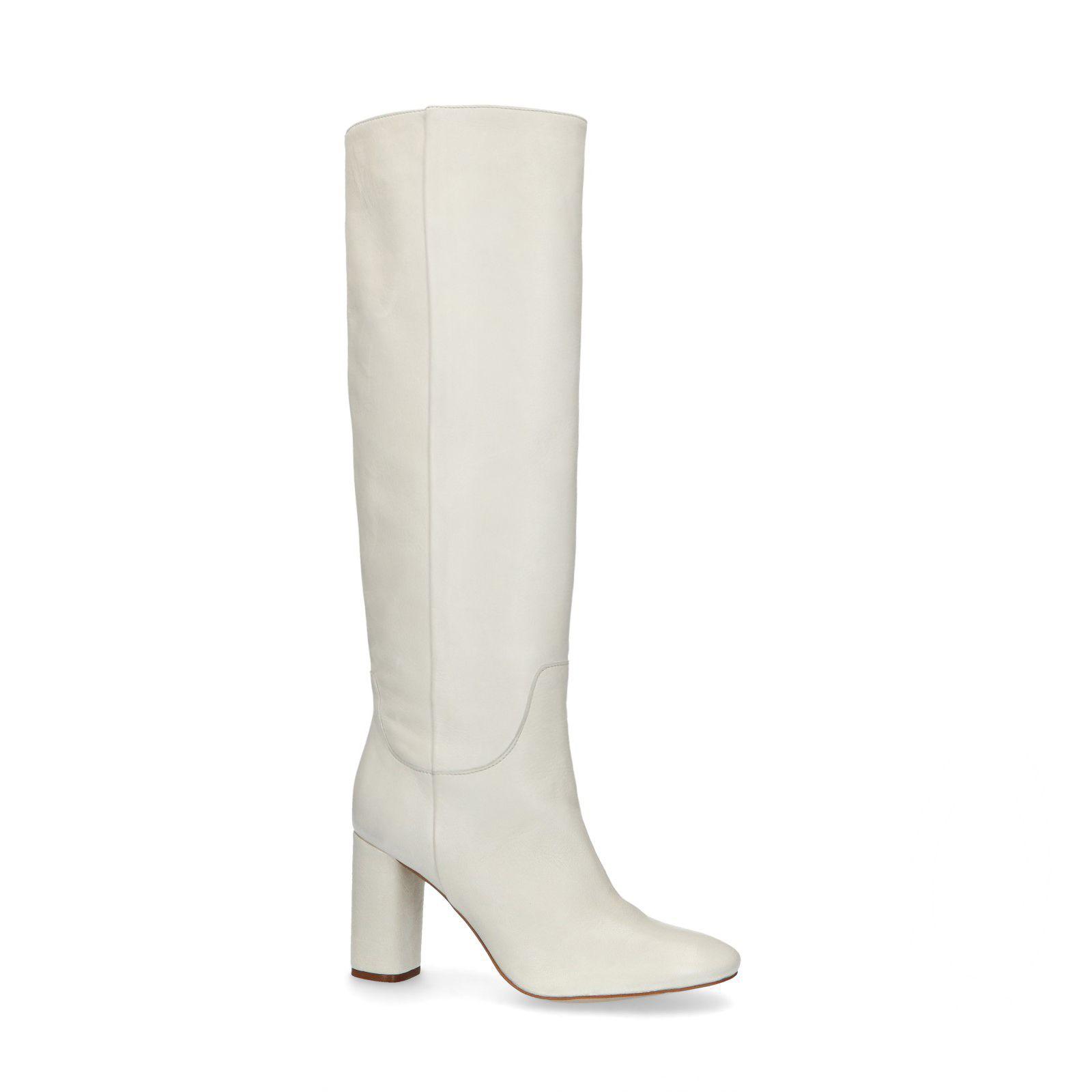 Manfield Hoge witte laarzen met hak