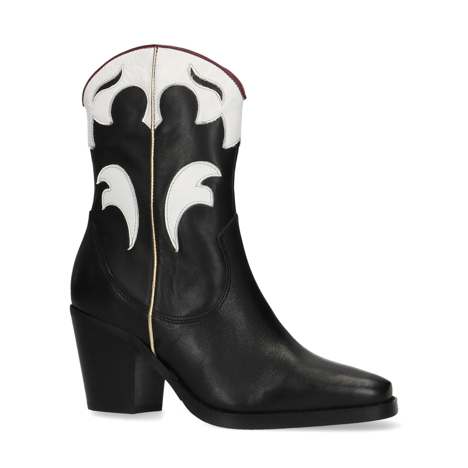 Zwarte cowboylaarzen met witte details Dames | MANFIELD