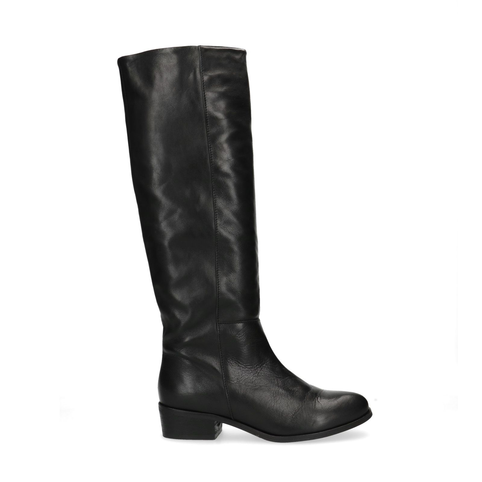 Hoge zwarte leren laarzen Dames | MANFIELD