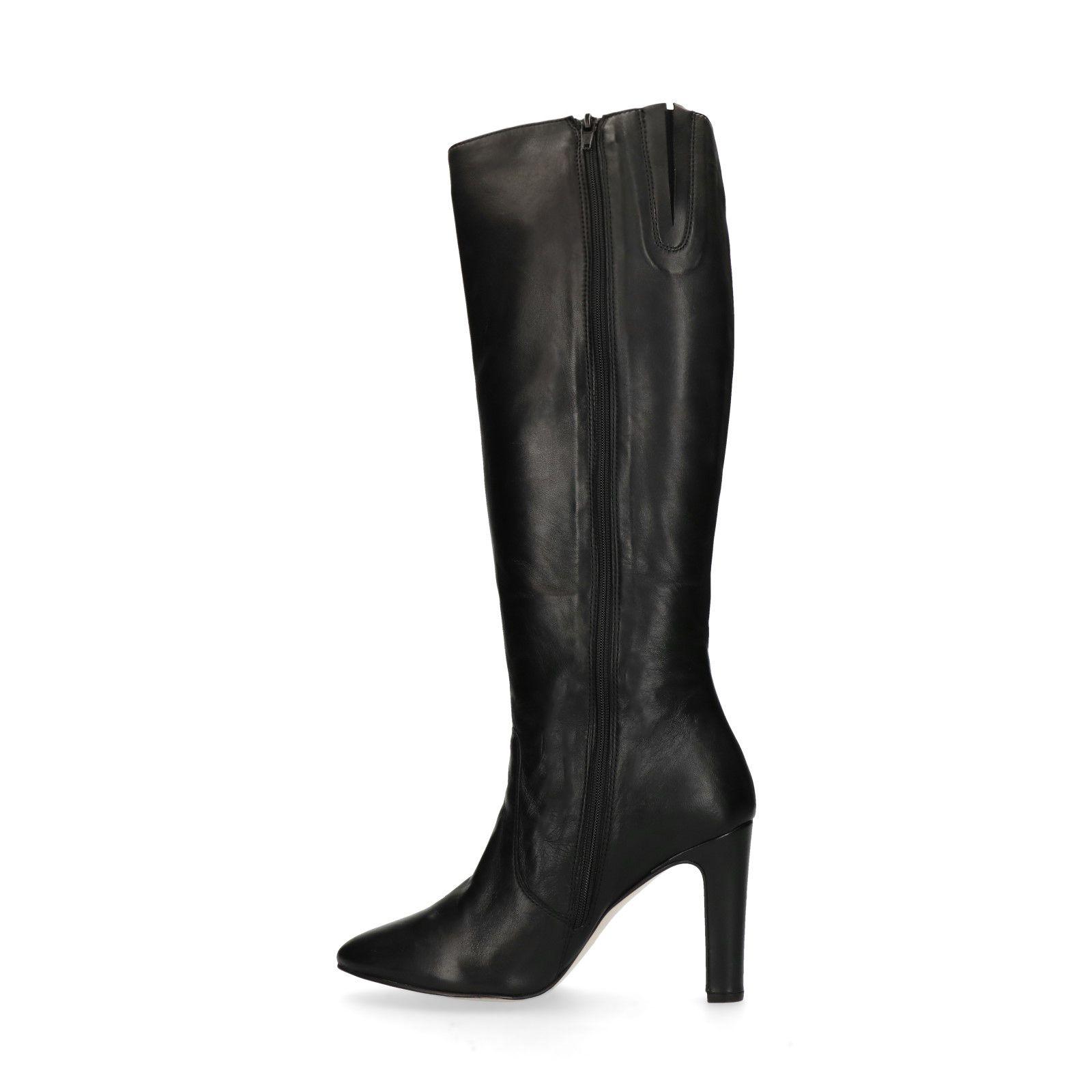 Leren hoge laarzen met hak Dames | MANFIELD
