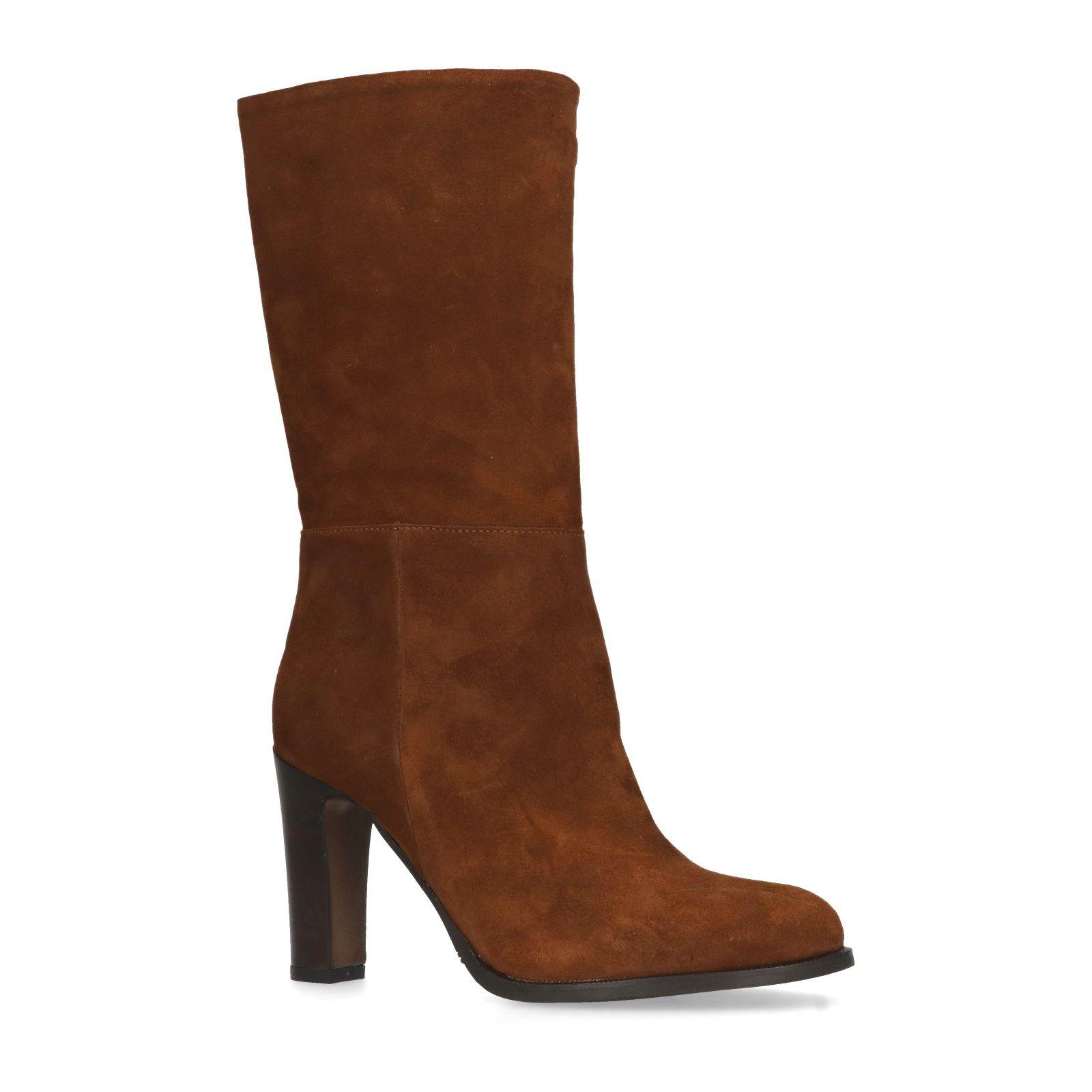 Cognac suède hoge laarzen met hak Dames | MANFIELD