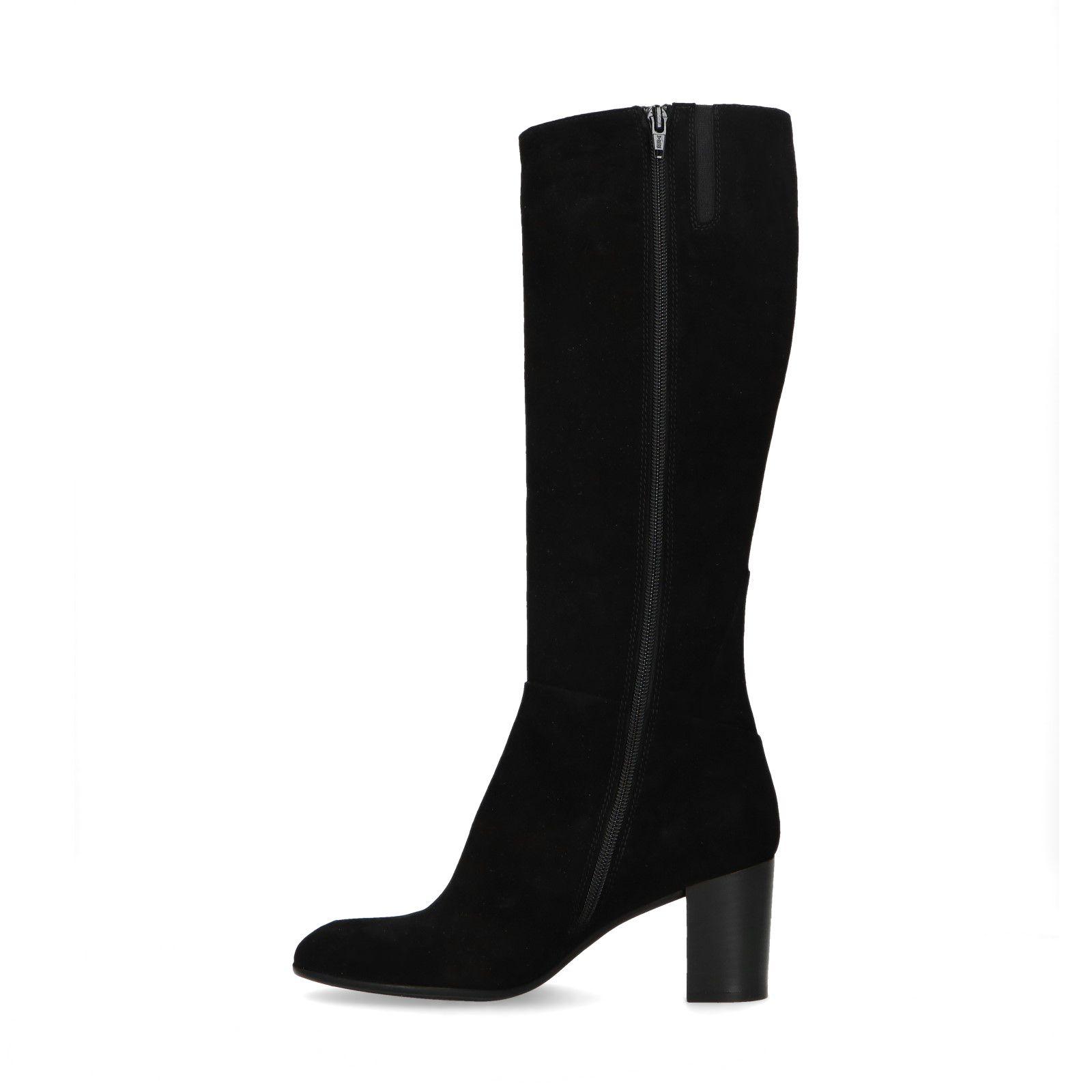 Zwarte suède laarzen met hak Dames | MANFIELD