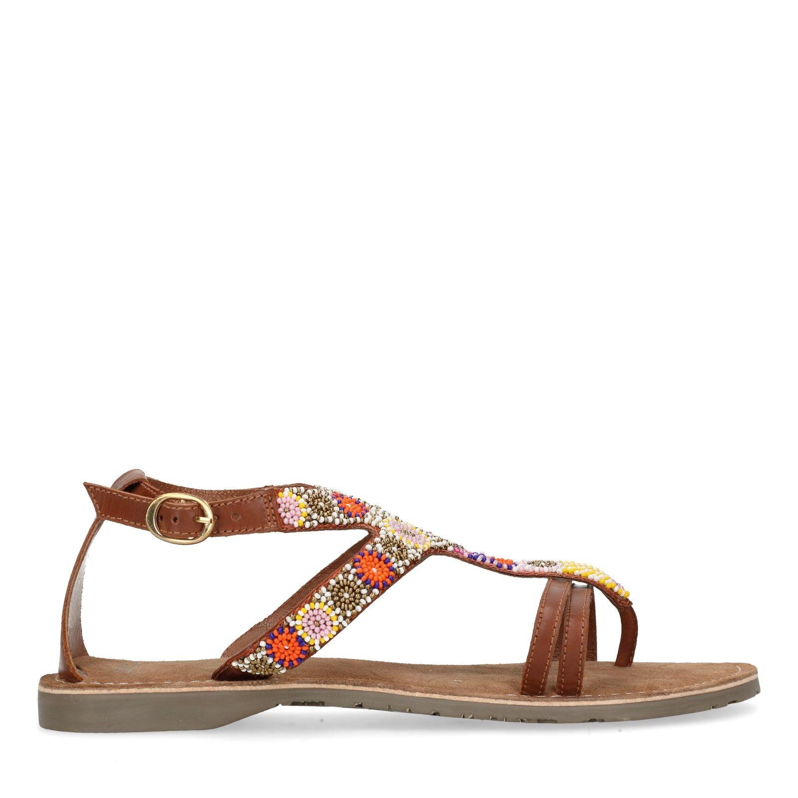 Ongebruikt Leren sandalen met kralen - Dames | MANFIELD BK-53