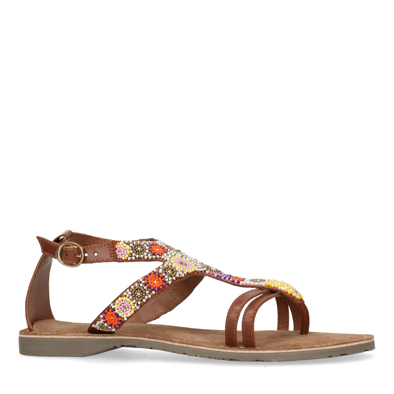 Ongekend Leren sandalen met kralen - Dames | MANFIELD OL-98