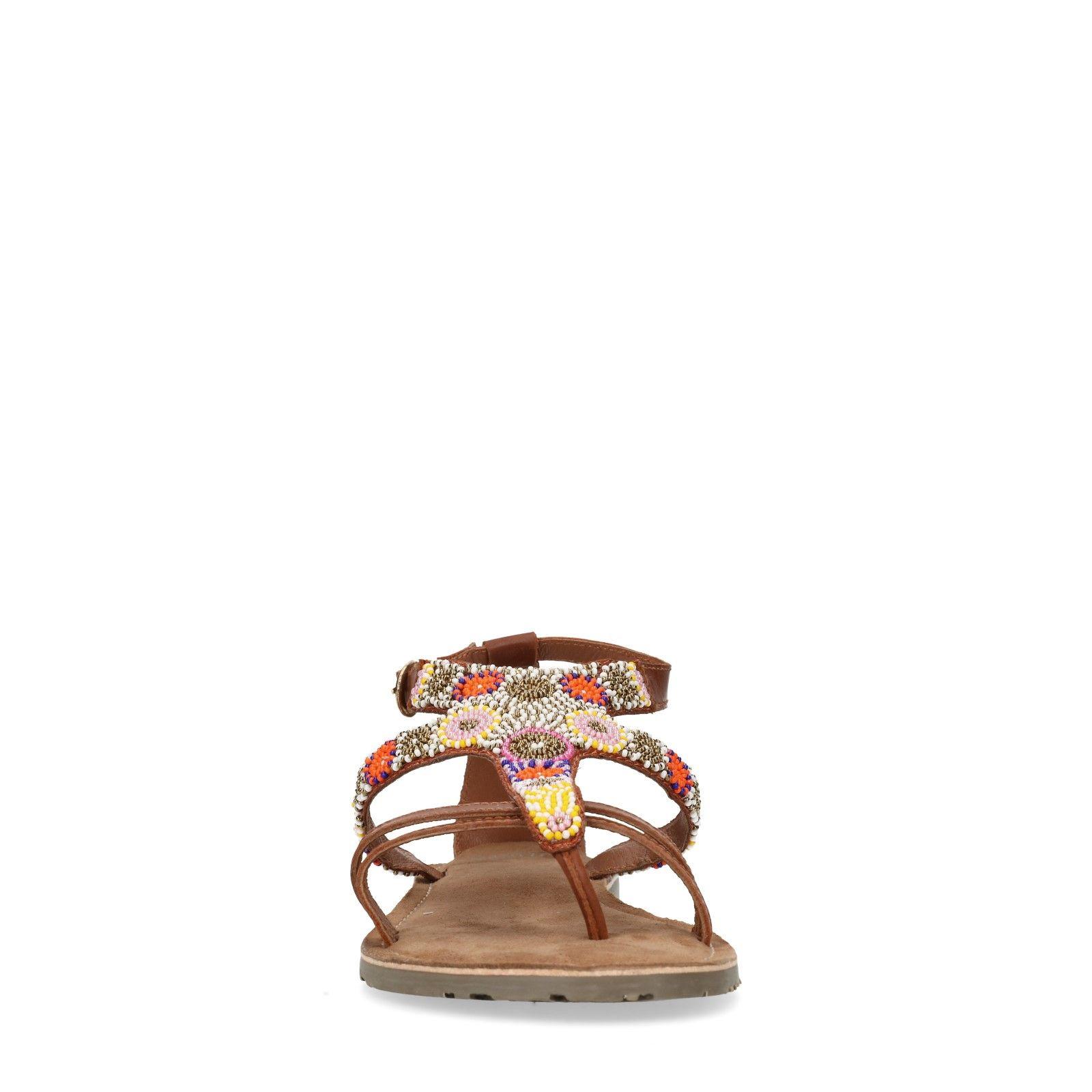 Welp Leren sandalen met kralen - Dames | MANFIELD XU-14