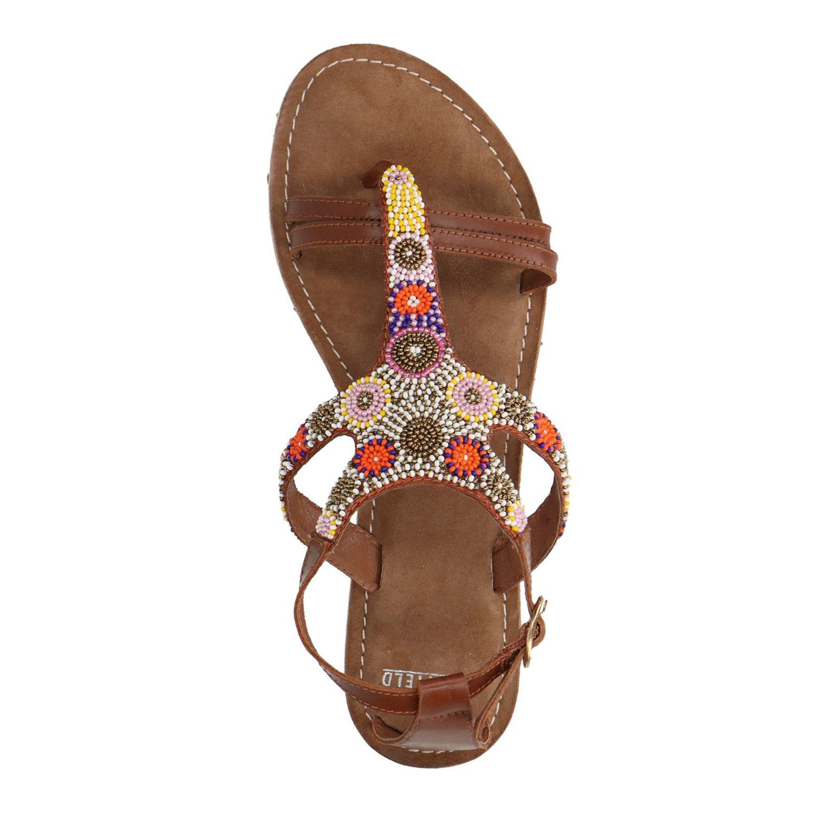 Wonderbaarlijk Leren sandalen met kralen - Dames | MANFIELD TK-63