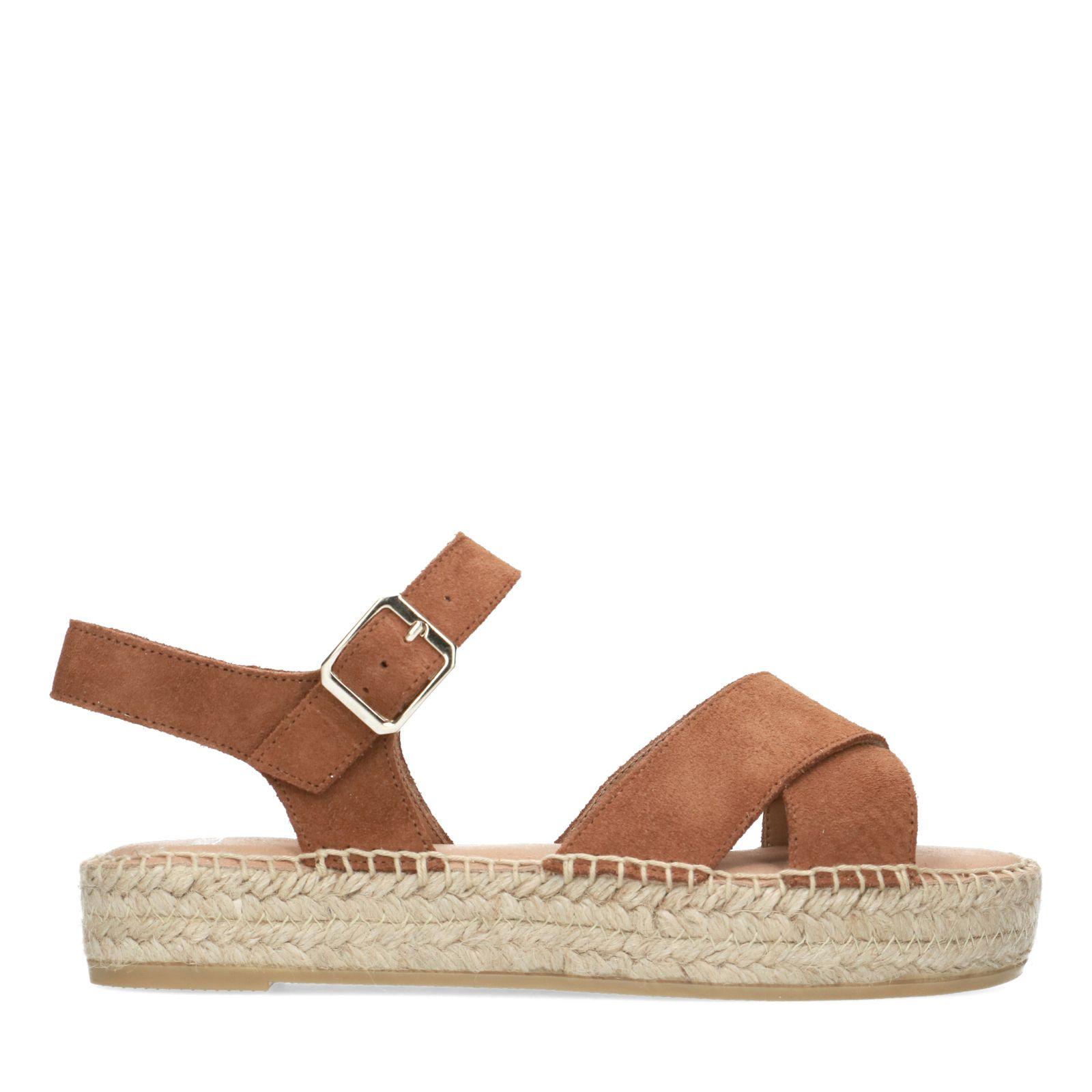 Cognac sandalen met plateauzool Dames   MANFIELD