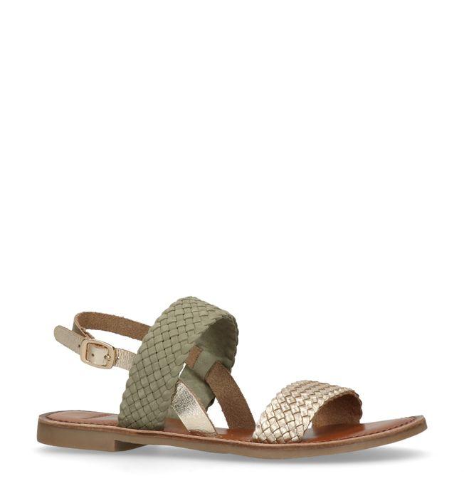 1919782ae4d Groene sandalen met gevlochten metallic detail - Dames | MANFIELD