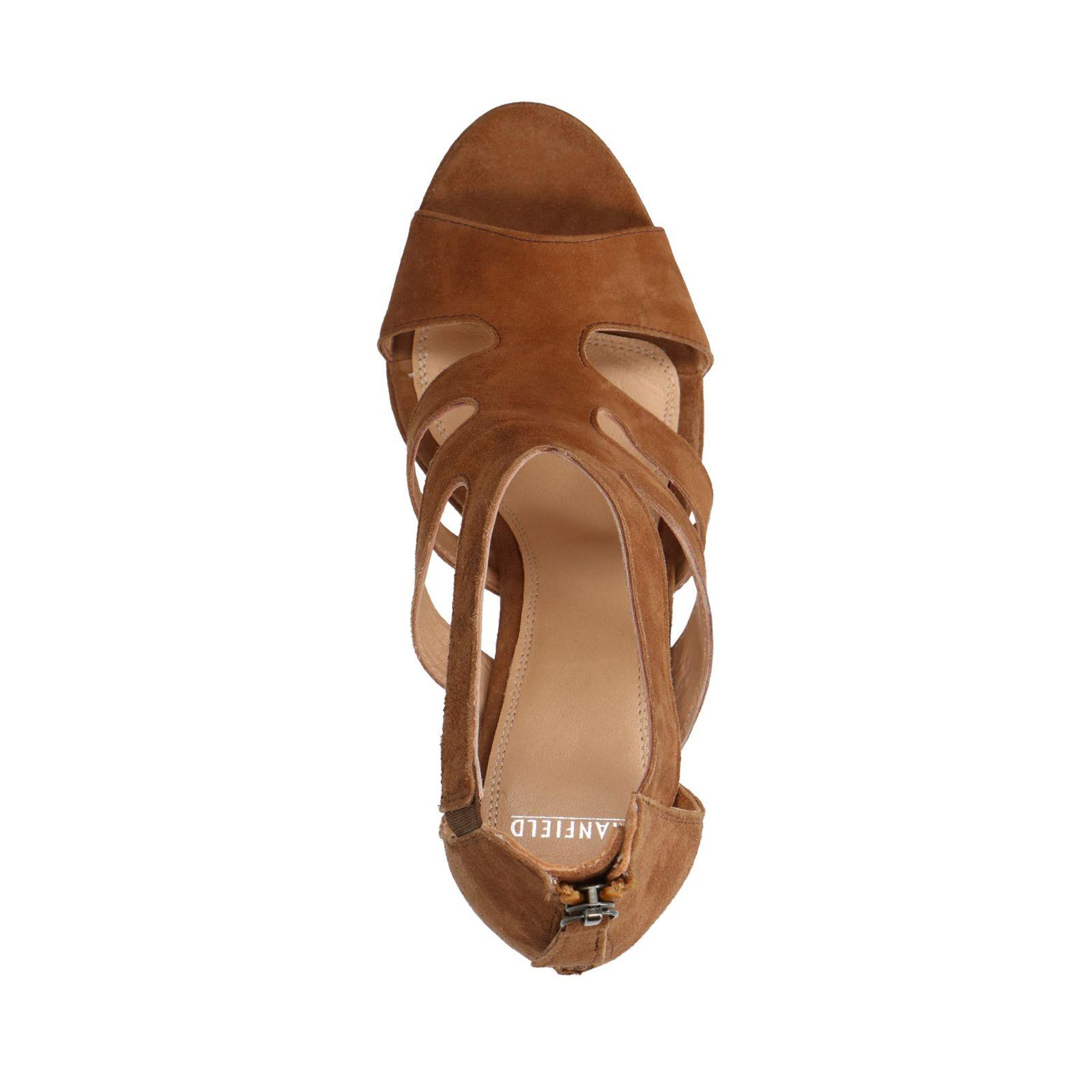 new concept 226e9 0b385 Cognac sandalen met hak - Dames   MANFIELD