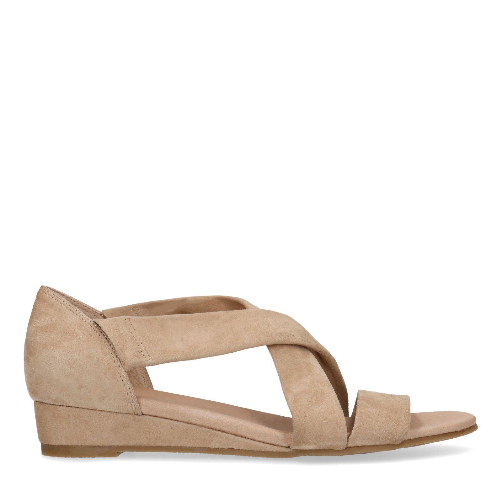 Taupe sandalen met sleehak