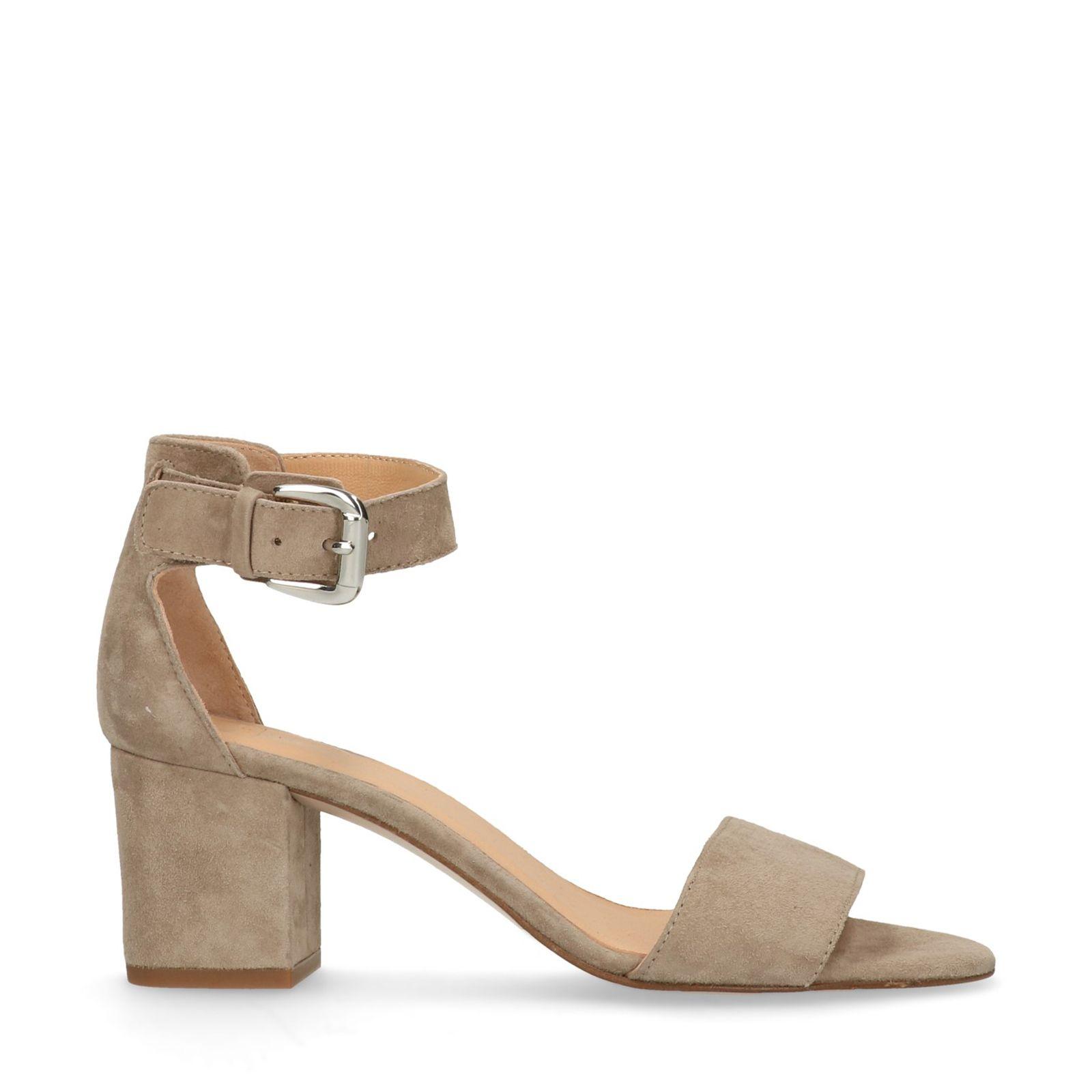 f012fc2a148149 Taupe sandalen met hak en open neus - Dames