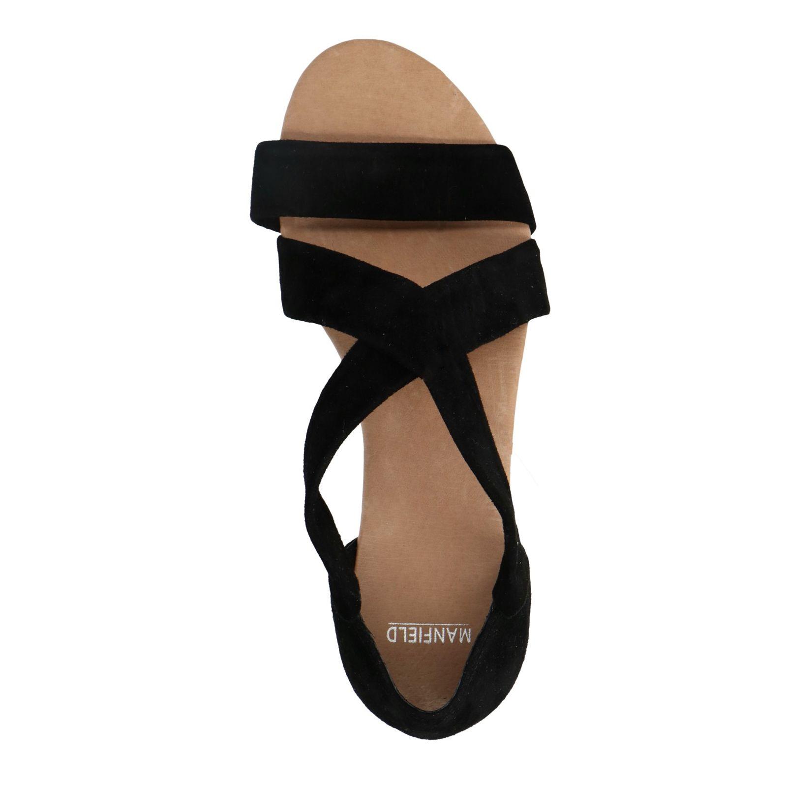 482ae8a8d47 Zwarte suède sandalen met lage sleehak - Dames | MANFIELD