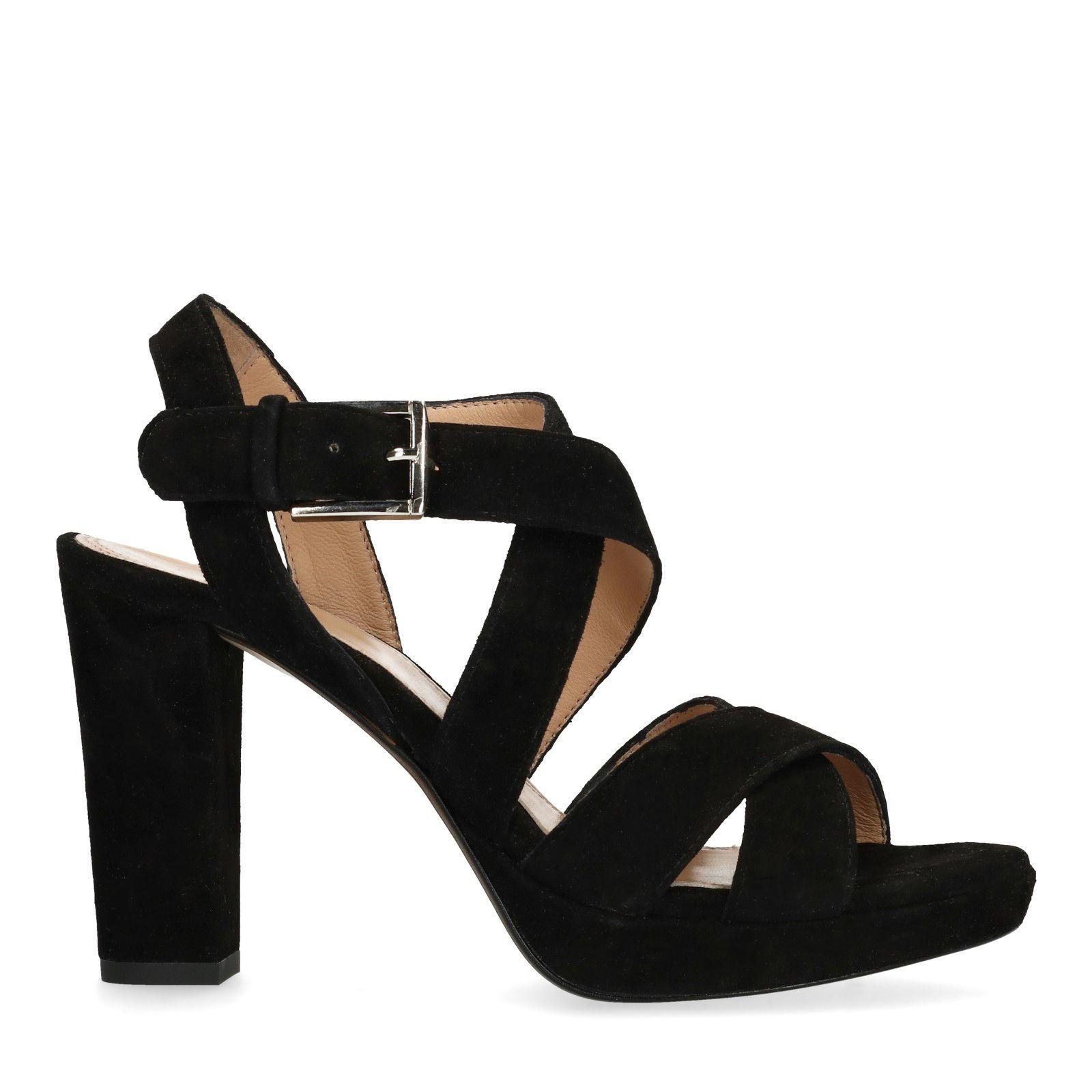 Zwarte sandalen met hak Dames   MANFIELD