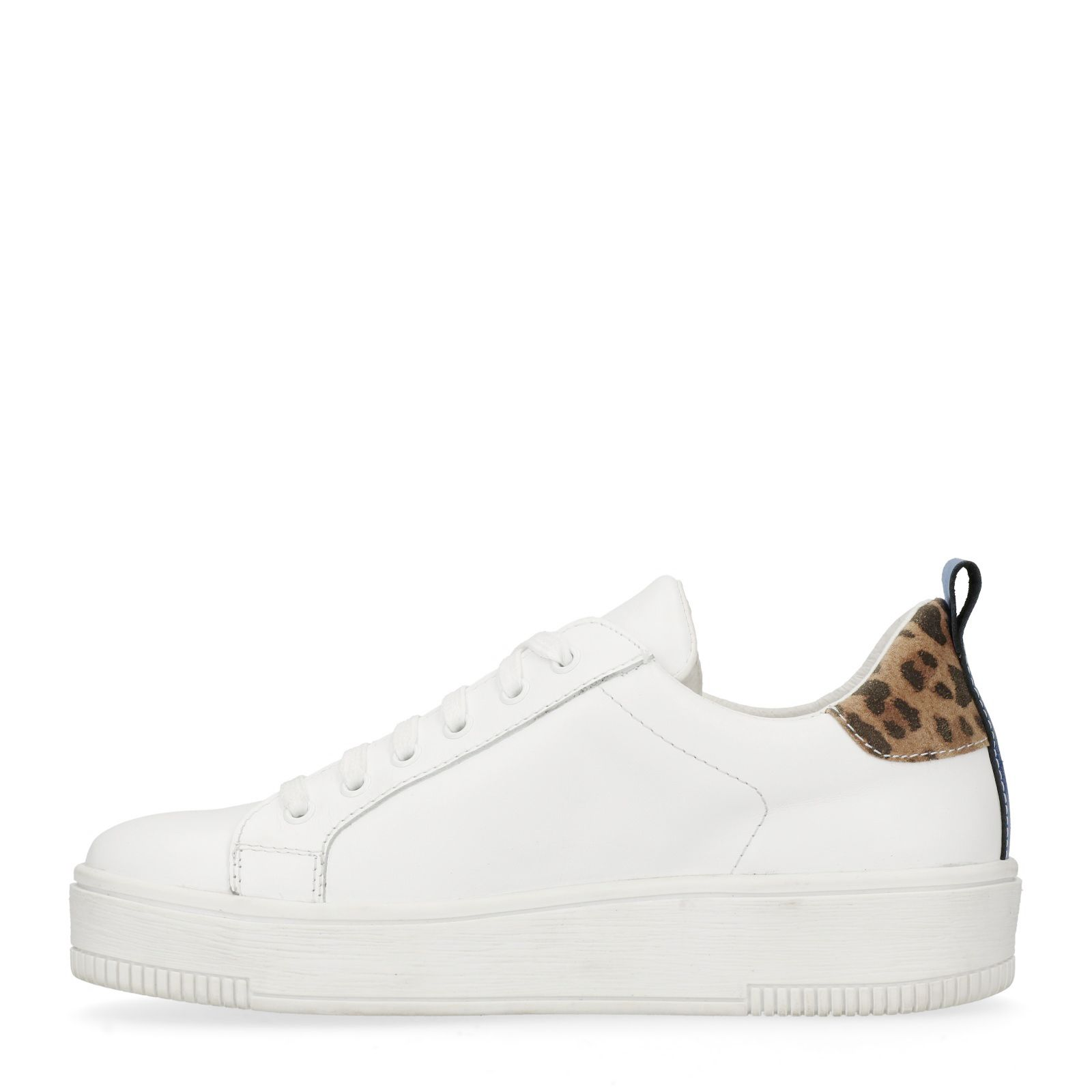 9b86edc053c Witte platform sneakers met panterprint detail - Dames   MANFIELD