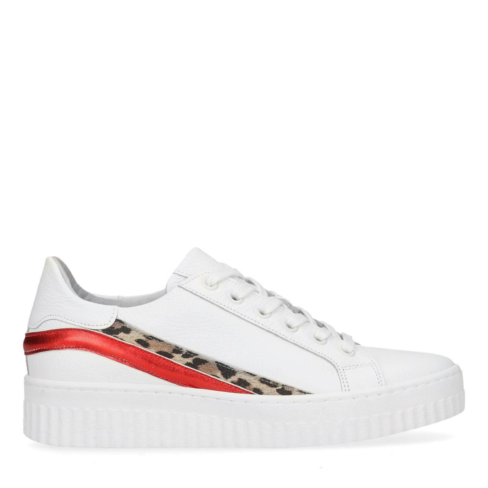 074f2f7a56d Witte platform sneakers met details - Dames   MANFIELD