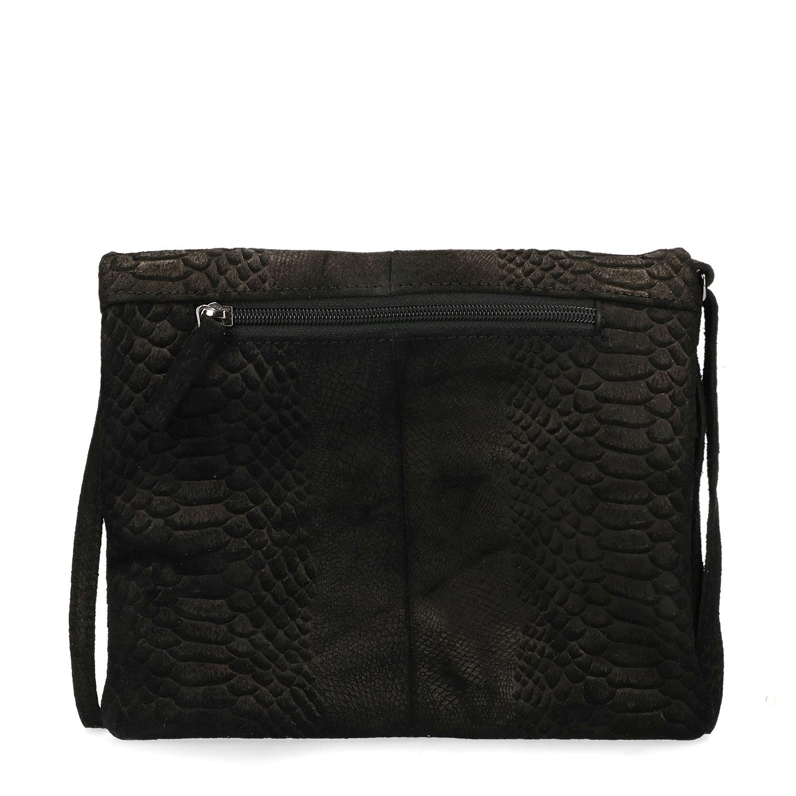 Manfield Zwarte schoudertas met snakeskin